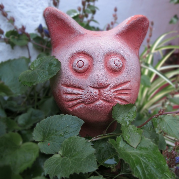 Ceramic, Garden Figurines, Cat, Garden, Sculpture, Art