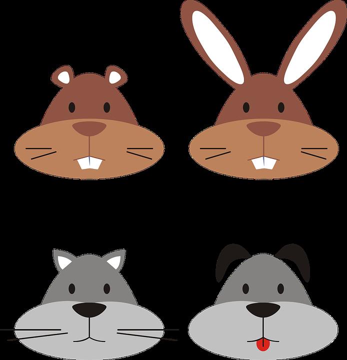 Animal, Cartoon, Cat, Dog, Gopher, Heads, Rabbit