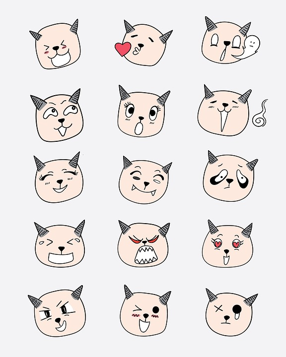 Cat, Emotions, Icon, Sticker, Set, Collection, Funny