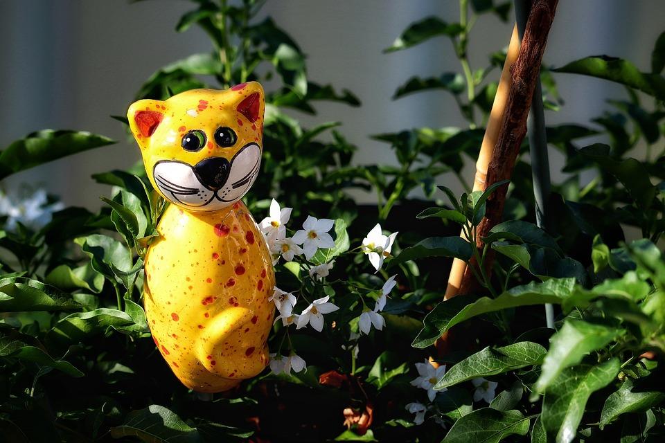 Plant, Deco, Cat, Porcelain, Figure, Yellow, Flowerpot