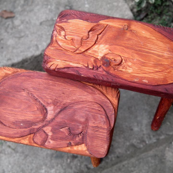 Wood Sculpture, Dřevotvor, Dog, Cat