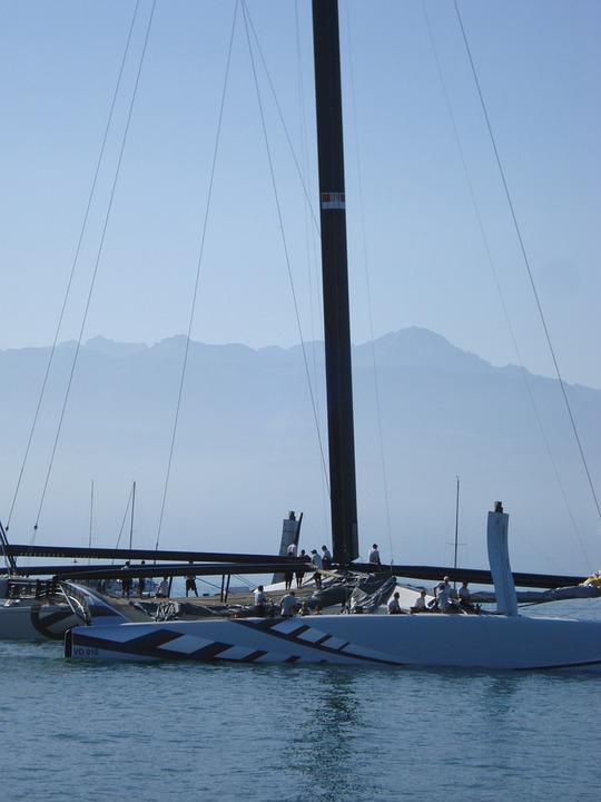 Catamaran, Boat, Alinghi, Lausanne, Lake Geneva