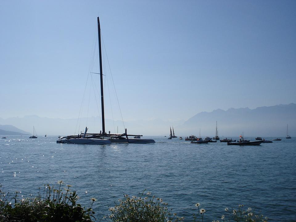 Catamaran, Boat, Lake Geneva, Lausanne, Switzerland