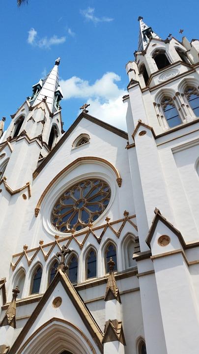 Church, Savannah, Cathedral, White, Blue, Sky, Cloud