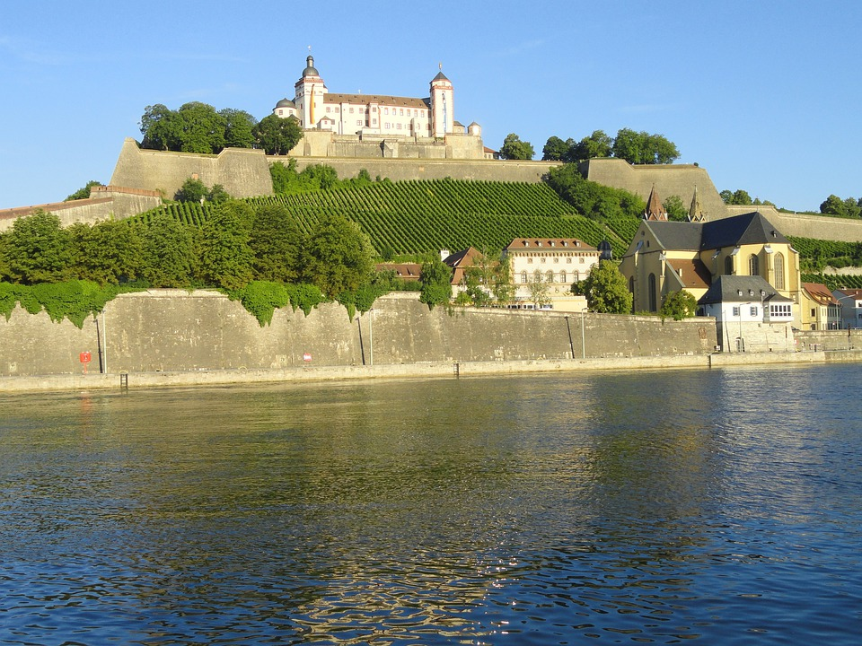 Germany, River, Water, Church, Cathedral, Fields, Crops