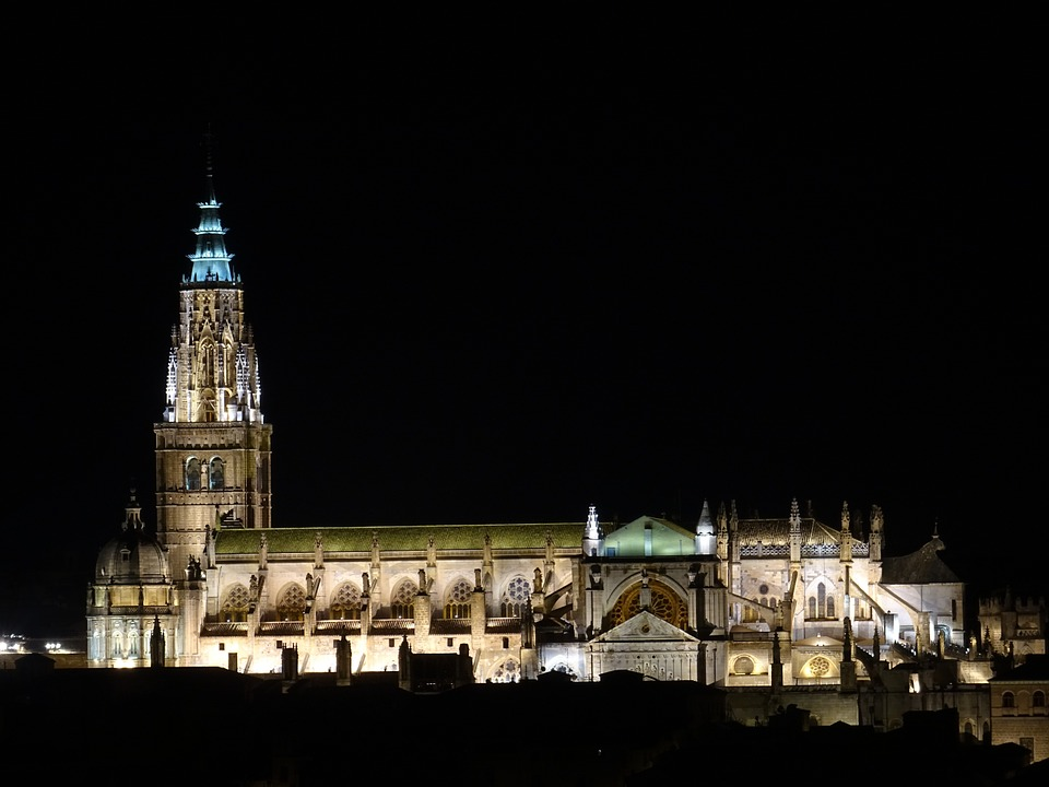 Cathedral, Toledo, Night, Gothic Art, Spain, Buildings