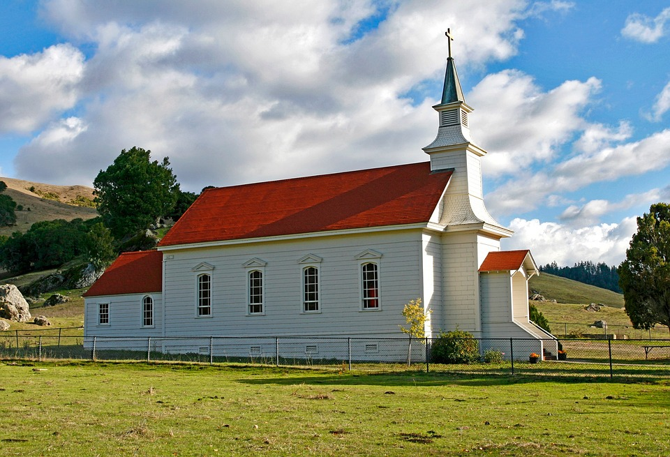 Nicasio, Church, Catholic Church, Red Roof, Steeple