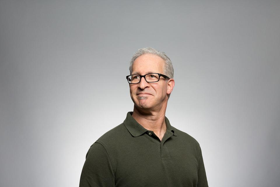 Adult, Casual, Caucasian, Glasses, Gray Background