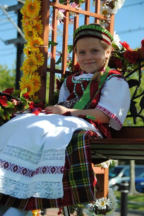 Lithuanian, Girl, Costume, Caucasian, Young