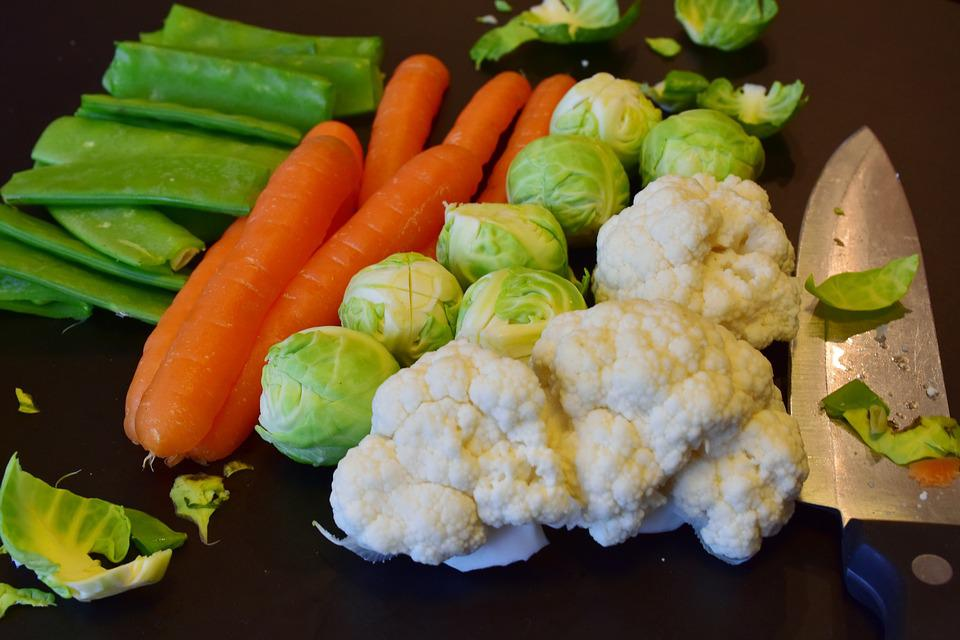 Vegetables, Raw, Carrots, Cauliflower, Beans