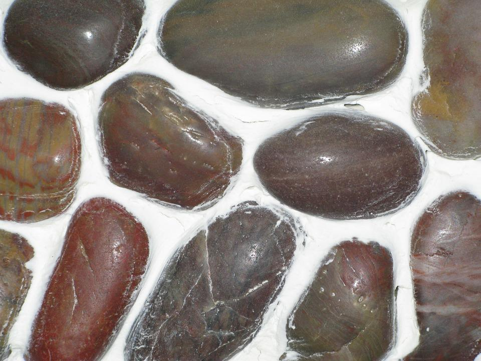 River Rock, Brown, White, Caulk, Mosaic, Tile, Natural