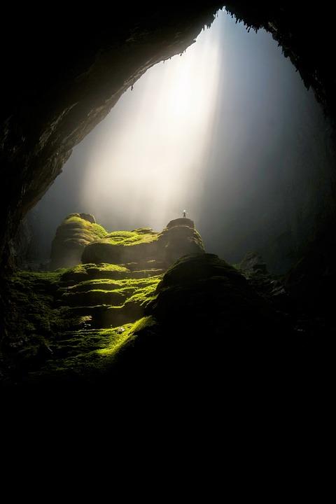 Cave, Cavern, Dark, Daylight, Landscape, Moss, Rocks