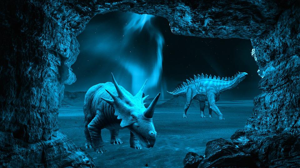 Dinosaurs, Night, Cave, Fantasy, Styracosaurus