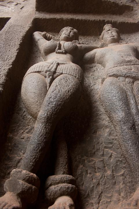 Karla Caves, Woman, Figure, Cave, Buddhism, Caves