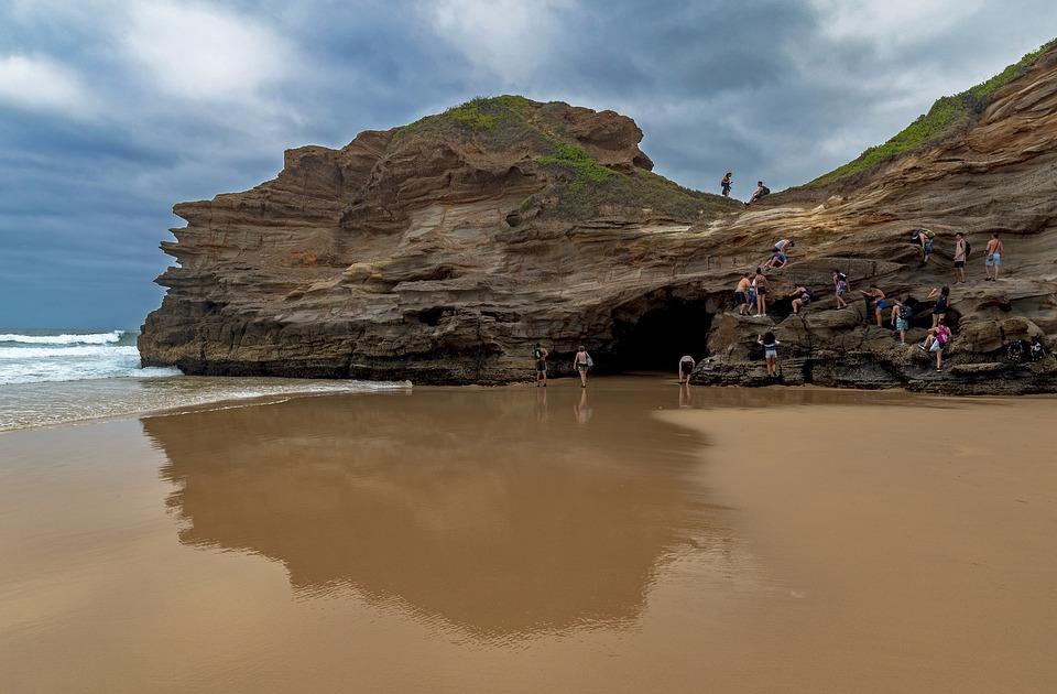 Cave, Beach, Sand, People, Australia