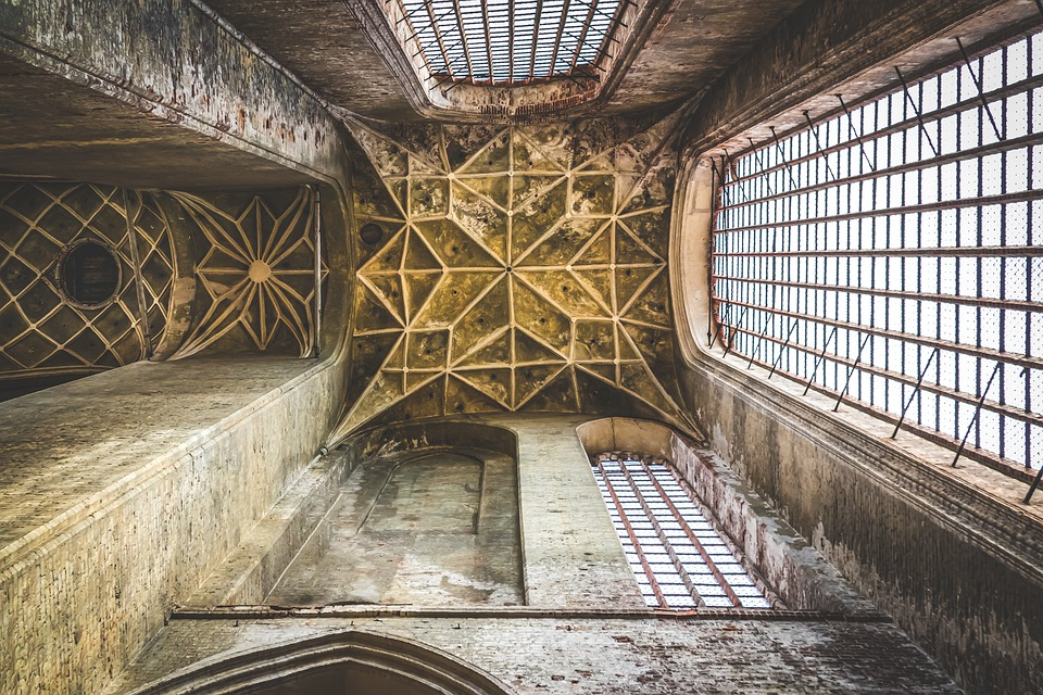 Interior, Ceiling, Window, Old, Church, Architecture