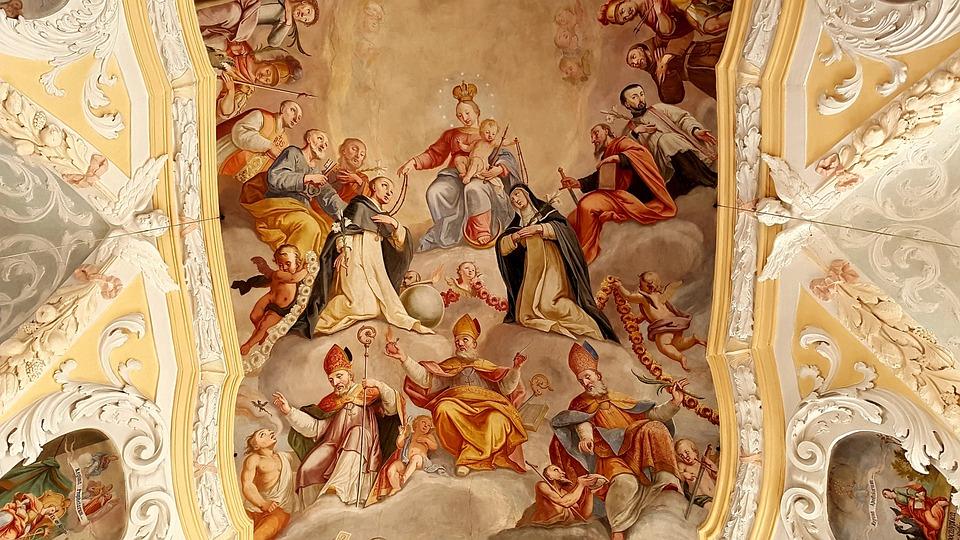 Fresco, Ceiling Painting, Maria, Child, Holy, Church