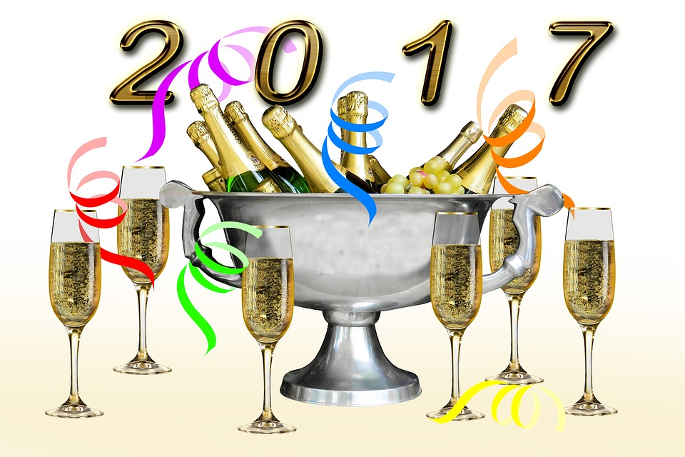 New Year 2017, Champagne, New Year's Eve, Celebration
