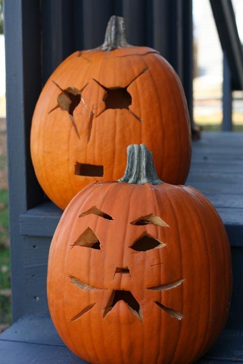 Pumpkin, Carved, Jack O Lanterns, Two, Celebration