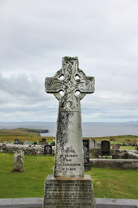 Tombstone, Celtic, Scotland, Scottish, Cross, Old