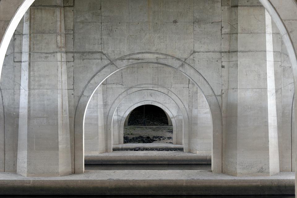 Bridge, Pier, Pillar, Symmetry, Concrete, Cement