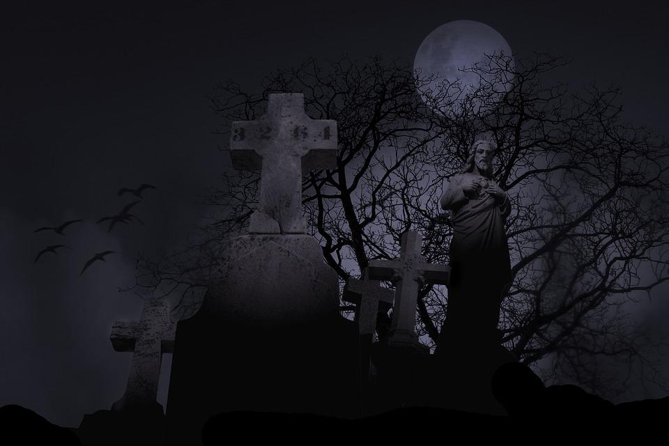 Cemetery, Spooky, Graveyard, Symbol, Grave, Night