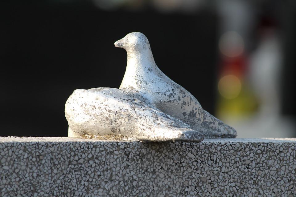 White Doves, Monument, Sculpture, Cemetery, Gravestone