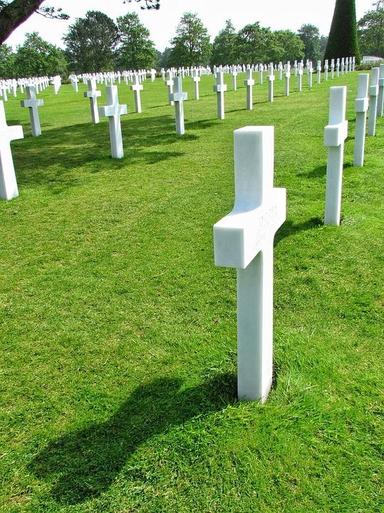 Normandy, Cemetery, American, War, France, Cross