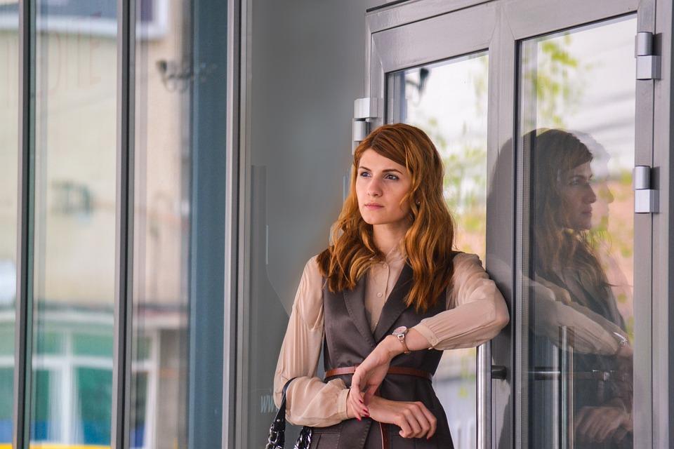 Beautiful, Business, Woman, Outdoors, Center, Portrait