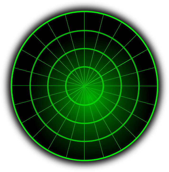 Radar, Blank, Green, Center, Circles
