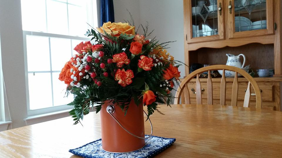 Roses, Flowers, Centerpiece, Dining, Table, Bouquet