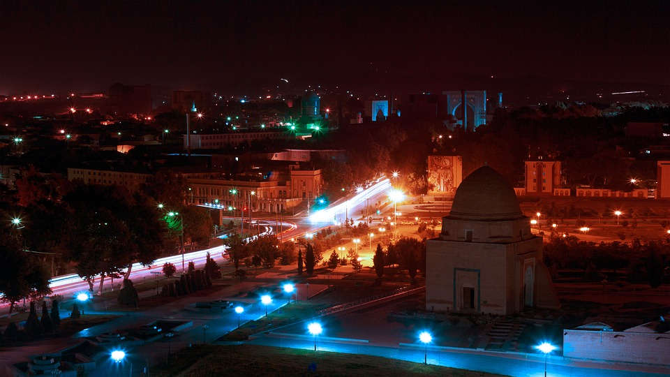 Night Lights, Gur Emir, Night, Central Asia