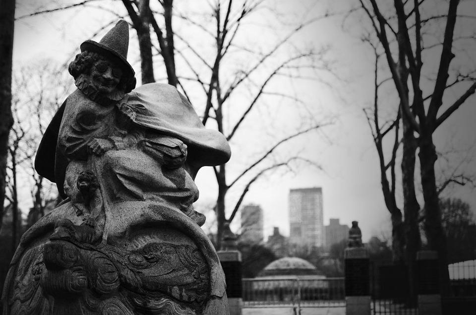 Central Park, Black And White, Statue, Central, Park