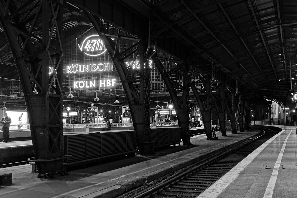 Central Station, Cologne, Night, Black And White