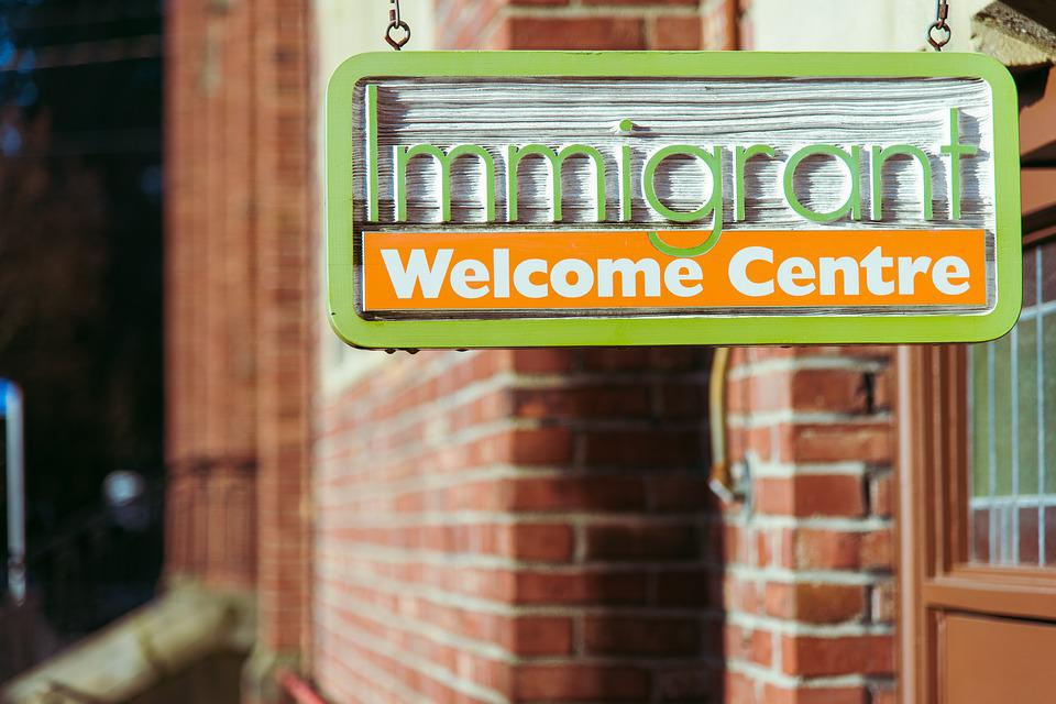 Immigrant, Welcome, Centre, Door, Entrance, Day, Sign