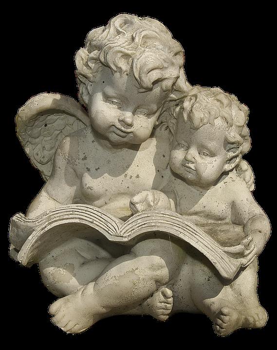 Figure, Angel, Putten, Sitting, Book, Read, Ceramic