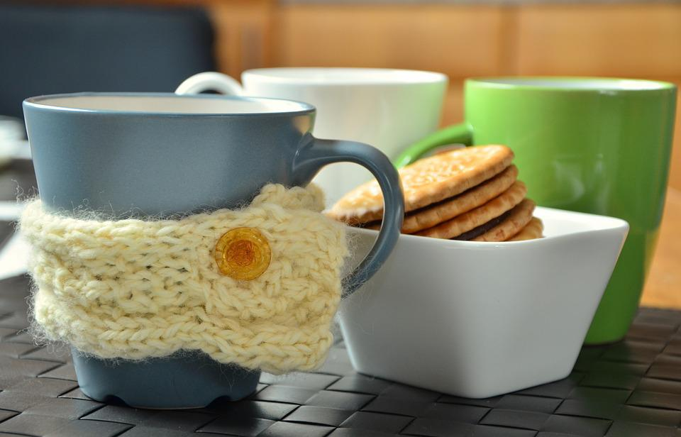 Cup, Coffee Cup, Ceramic, Porcelain, Breakfast, Cookies
