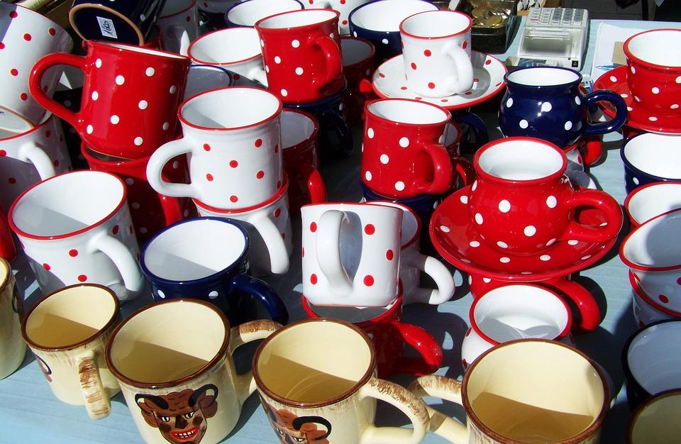 Cups, Polka Dots, Ceramic