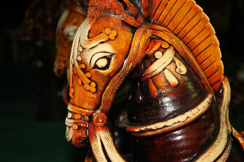 Horse, Ceramic, Green, Indian, Cultural, Glossy