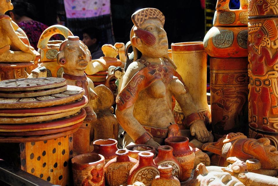 Guatemela, Market, Statues, Trinkets, Ceramic, Maya