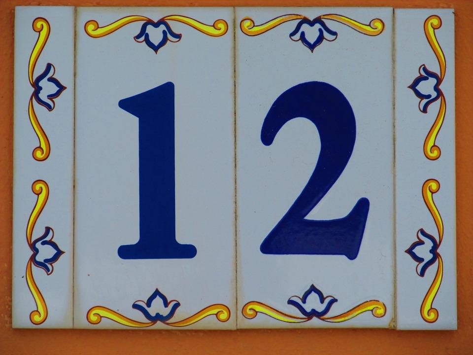 House Number, Shield, 12, Twelve, Number, Ceramic