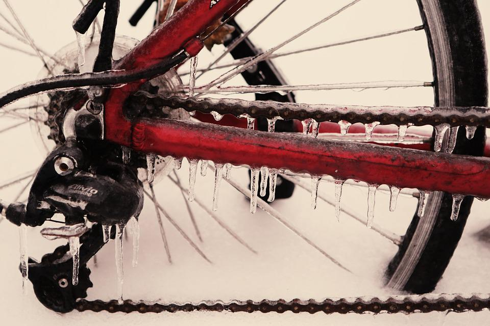 Bicycle, Frozen, Ice, Bike, Wheel, Chain, Cold, Winter