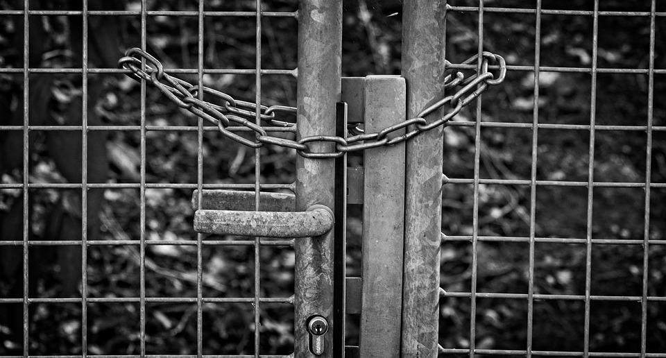 Fence, Door, Metal, Chain, Secure, Input, Closed