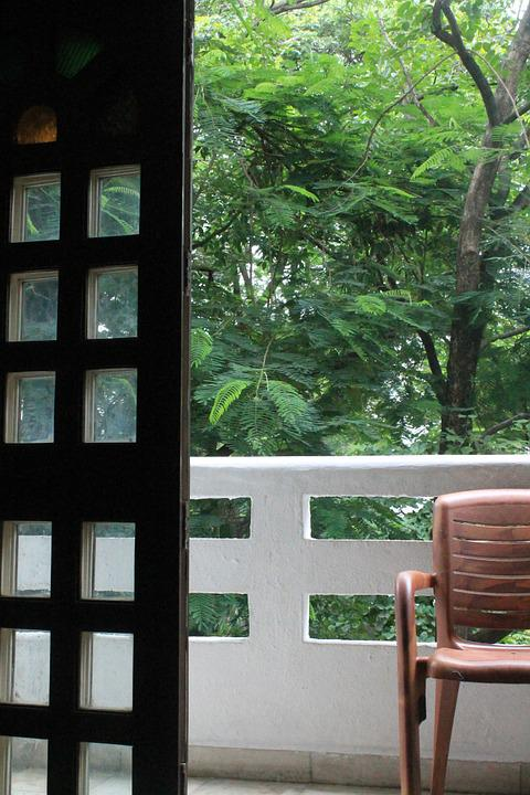 Door, Chair, Balcony, Trees, Interior