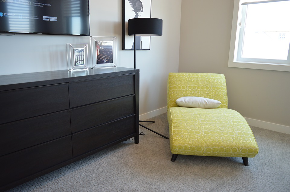 Chaise, Chair, Lounger, Bedroom, Dresser, Lamp