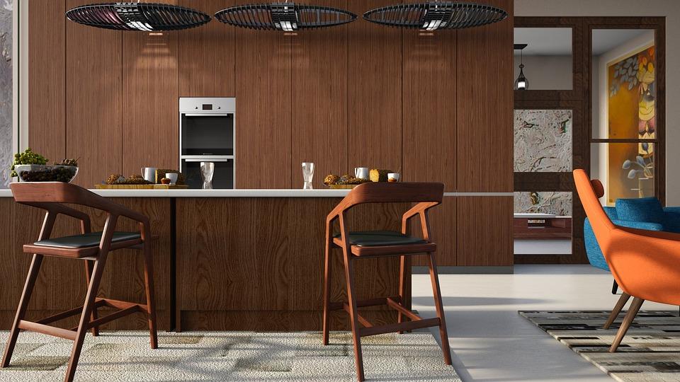 Kitchen, Wood, Chair, Orange, Blue, Lighting