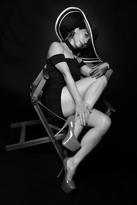 Model, Woman, Chair, Portrait, Hat, Female Model, Dress