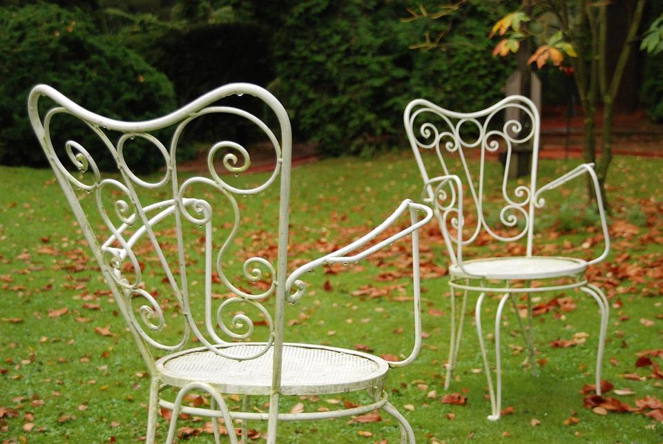 Garden, Nature, Rain, Grass, Wet, Chair, White