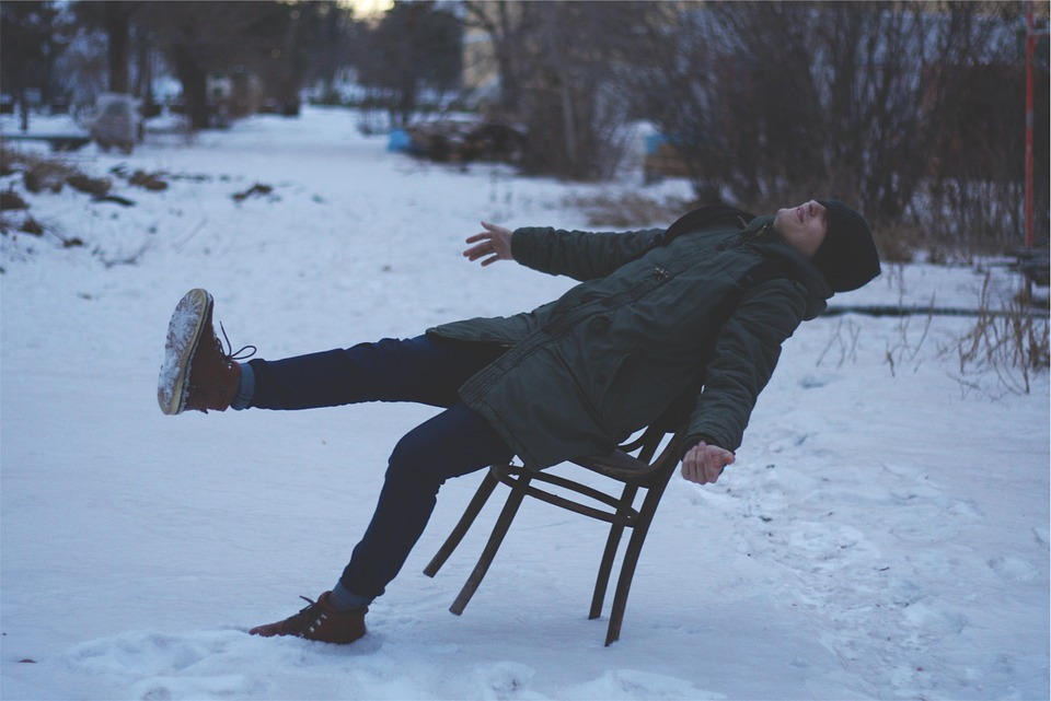 Guy, Man, Winter, Snow, Chair, Boots, Jacket, Hat