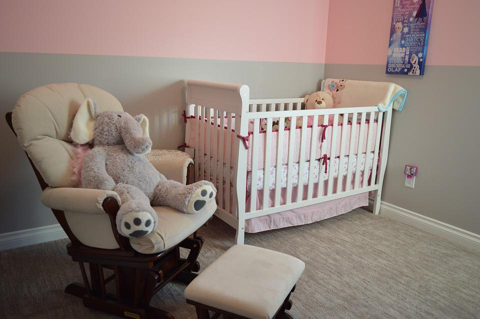 Nursery, Crib, Chair, Bedroom, Room, House, Home, Child
